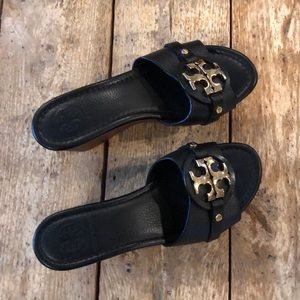 Pair of Tory Burch leather wedge sandals.